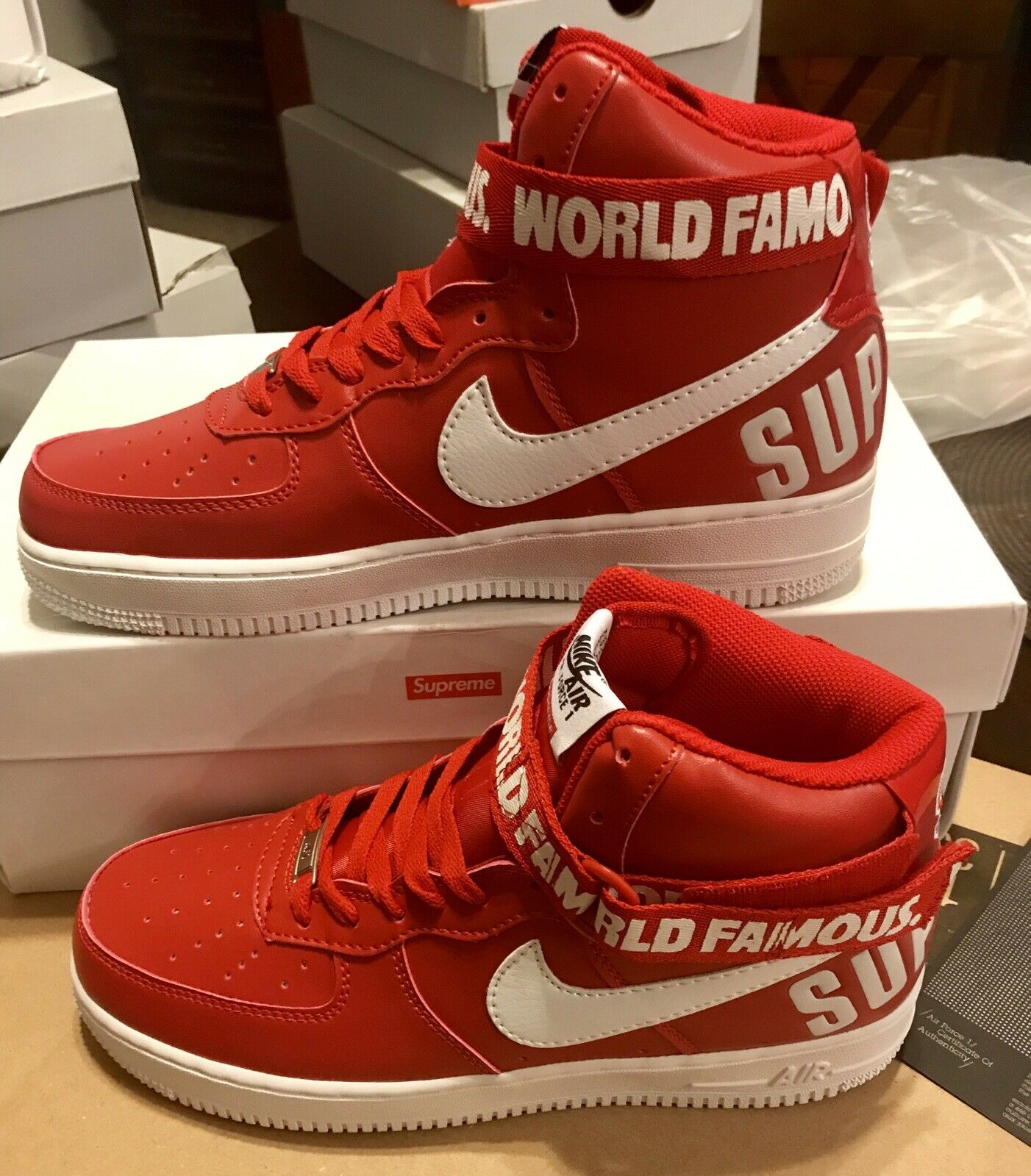 59daddaef NIKE Air Force 1 High SUPREME X World famous Red White Size 9.5 698696 610  NIB