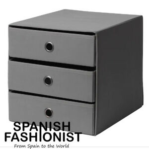 IKEA-FLARRA-BOX-STORAGE-Mini-chest-with-3-drawers-dark-grey-33x38-cm