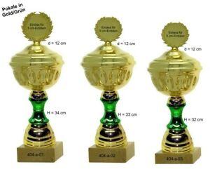 Pokale 3er Serie 404a Gold/Grün Höhe=34-32 cm mit Emblem & Gravur 32,50 EUR