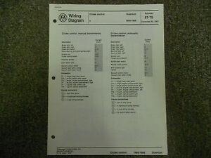 1985 1988 VW Quantum Cruise Control Wiring Diagram Service ...