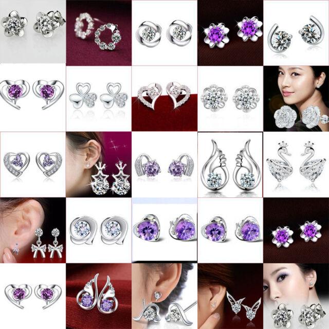 Fashion Crystal Rhinestone Teardrop Silver Gold Dangle Stud Earrings New Gift