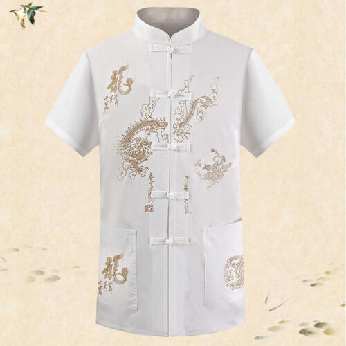 Mens embroidery Chinese Button Casual Shirt Silk short sleeve Stand Collar Hot
