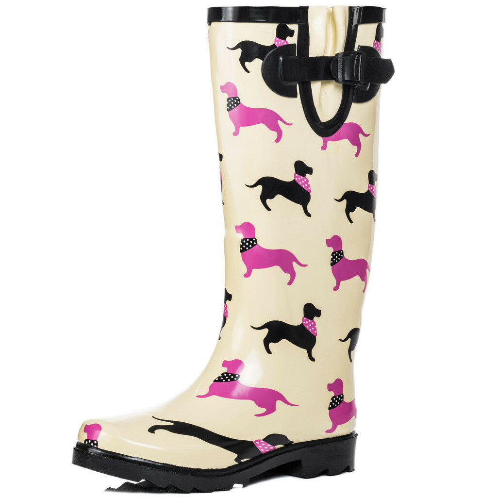 Womens Knee High Flat Festival Wellies Rain Boots Sz 3-8