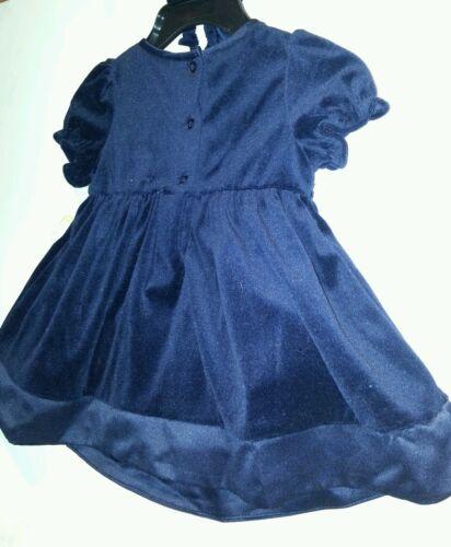 Infant Girls Little Bitty Brand Navy Blue Velvet Christmas Dress Size 18 24M