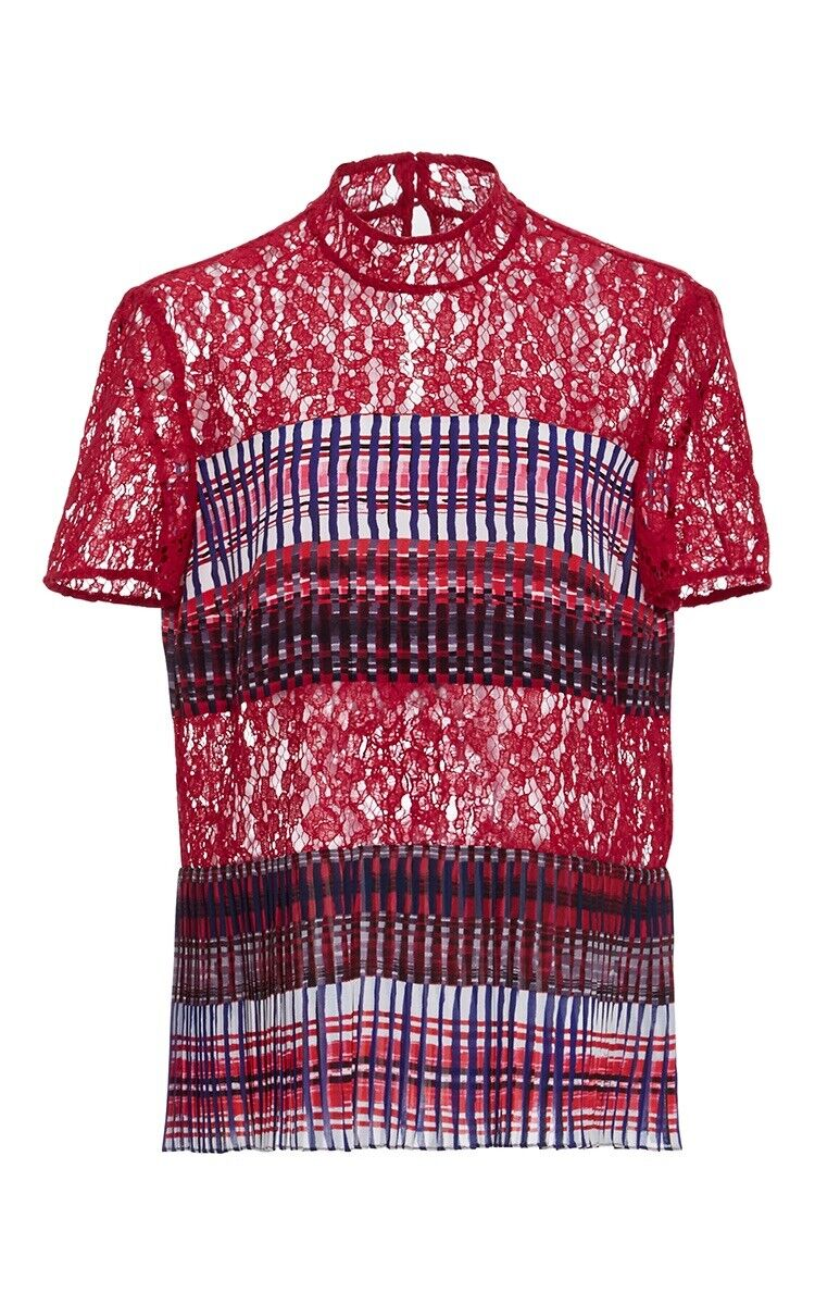 SALONI rot Dita Lace Silk Pleated Short Sleeve Top Blouse M US 6 NEW