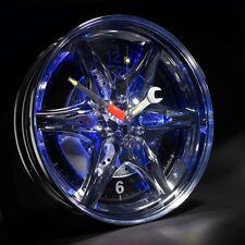 Blue Neon Car Tyre Wheel Rim Wall Clock Tyre Motor Car Enthusiast Gadget Gift