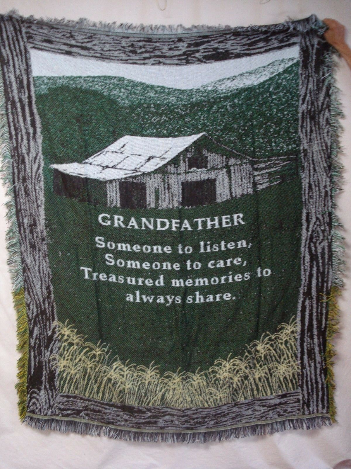 USA Made NWOT Grandfather Farm House Tapestry Throw Blanket Afghan
