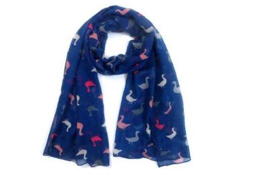 Duck Print Scarf Multi Colour Ducks Ladies Womens Festive Fashion Long Big Wrap