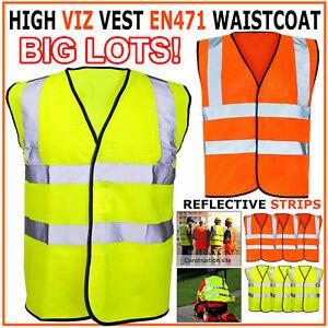 Hi Vis High Viz Jacket Visibility Vest Waistcoat Safety EN471 with pocket Lot UK