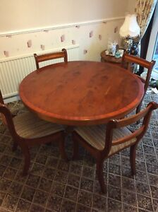 Yew Dining Table And Chairs , Round , 4 Leg Pedestal ...