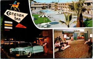 Postcard-California-Bakersfield-Caravan-Inn-Union-Ave-Multiview-Old-Car-Unposted