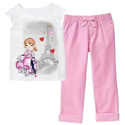 NWT Gymboree EIFFEL FLOWERS Girls Sz 2T 3T Vespa Tee Top Pull-On Capri Pants SET