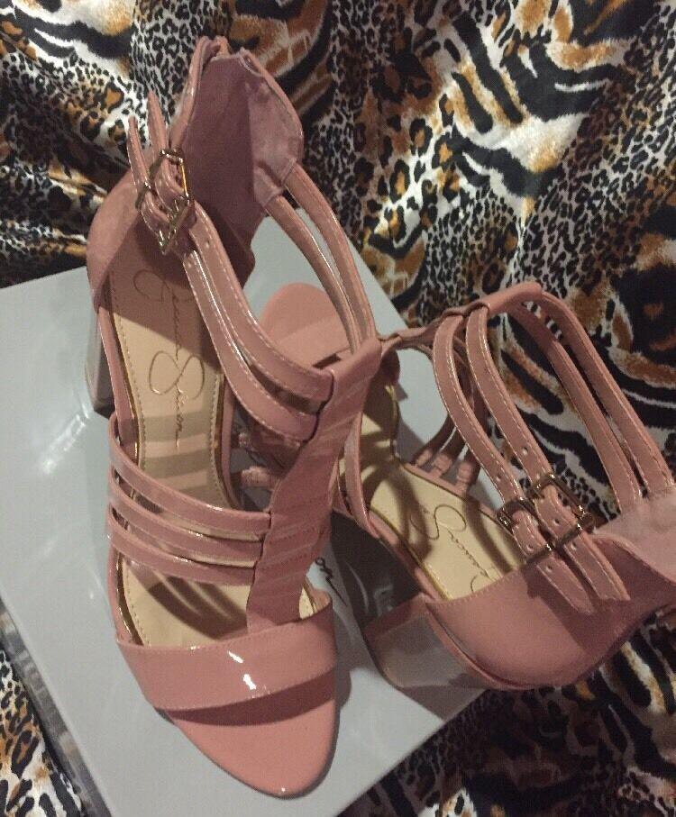 JESSICA SIMPSON  New Women's Jennisin Miss Piggy Piggy Piggy Leather Strappy Heels 8.5 ecb562