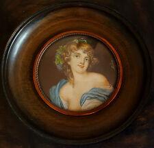 Peinture Ancienne Miniature - Portrait de femme galante Signé - Cadre bois.