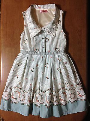 Ank Rouge Mint Blue Stripe Dress Original Floral Motif