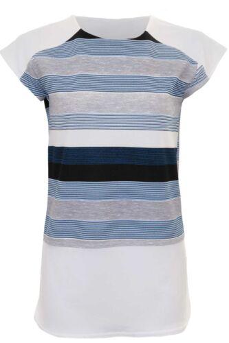 Ladies Cap Sleeve Contrast Crepe Stripe Side Slit Curved Block Hem Top T-Shirt
