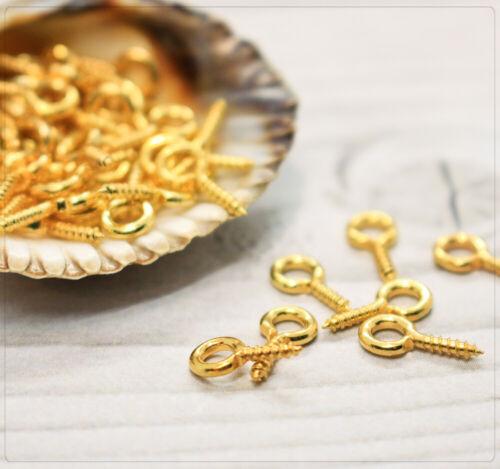 100x schraubösen colgante ojales de giro lápiz ojales montaje DIY bricolaje Golden 10x5mm
