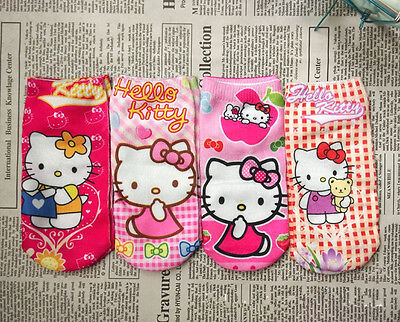 Lot of 4 New HelloKitty Kids Cotton Food Socks aa-1015  for 1-5 yrs