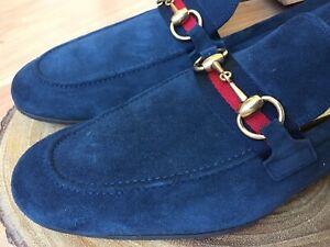 b4e27319fd3 GUCCI Jordaan Horsebit Blue Suede w  webbing loafers 322500 Sz 8 UK ...