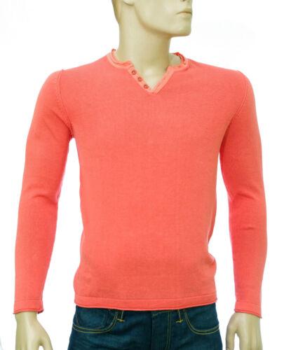 di lino Size in cotone Theo Pullover fit slim arancione uomo scollo a V Harris Wilson S cyWWqnTC8