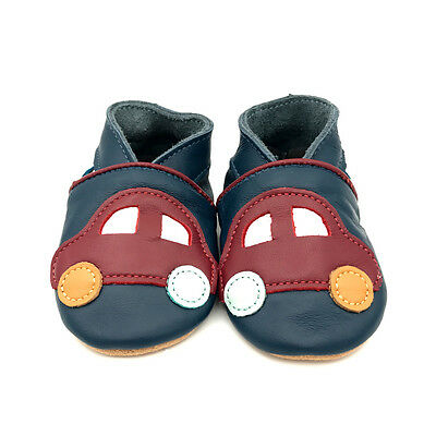 * segundos * Dotty peces de Cuero Suave Zapatos de bebé y del niño coche