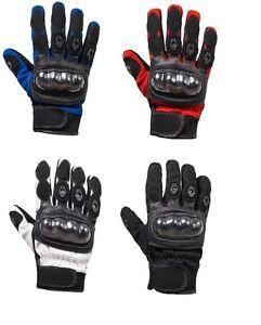 Moto-gants-cuir-court-textile-Motard-rouge-bleu-blanc-noir-taille-M-a-xxl