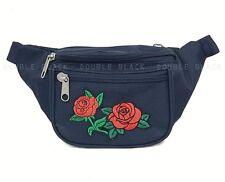 Red Rose Fanny Pack Waist Belt Bag Sports Utility Pouch Rave Festivals Navy Blue