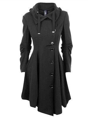 Damen Mantel Windmantel Trenchcoat Übergangsmantel Einreiher Revers Schwarz XL