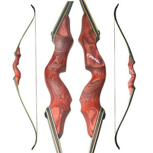 """60/"""" Archery Takedown Recurve Bow Red Riser Handle 30-60lbs Target Hunting Shoot"""