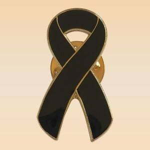 Details about NEW Black Ribbon Charity Lapel Pin Mourning Skin Cancer  Awareness Brooch