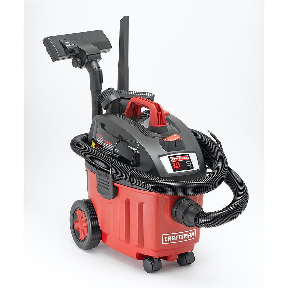 Craftsman Ultra-Quiet 4 Gallon 5 Peak HP Portable Household Wet-Dry Vac Vacuum