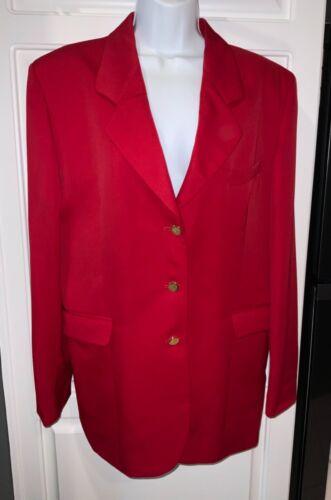 Vintage Burberry Women's Red 100% Wool Blazer Jack