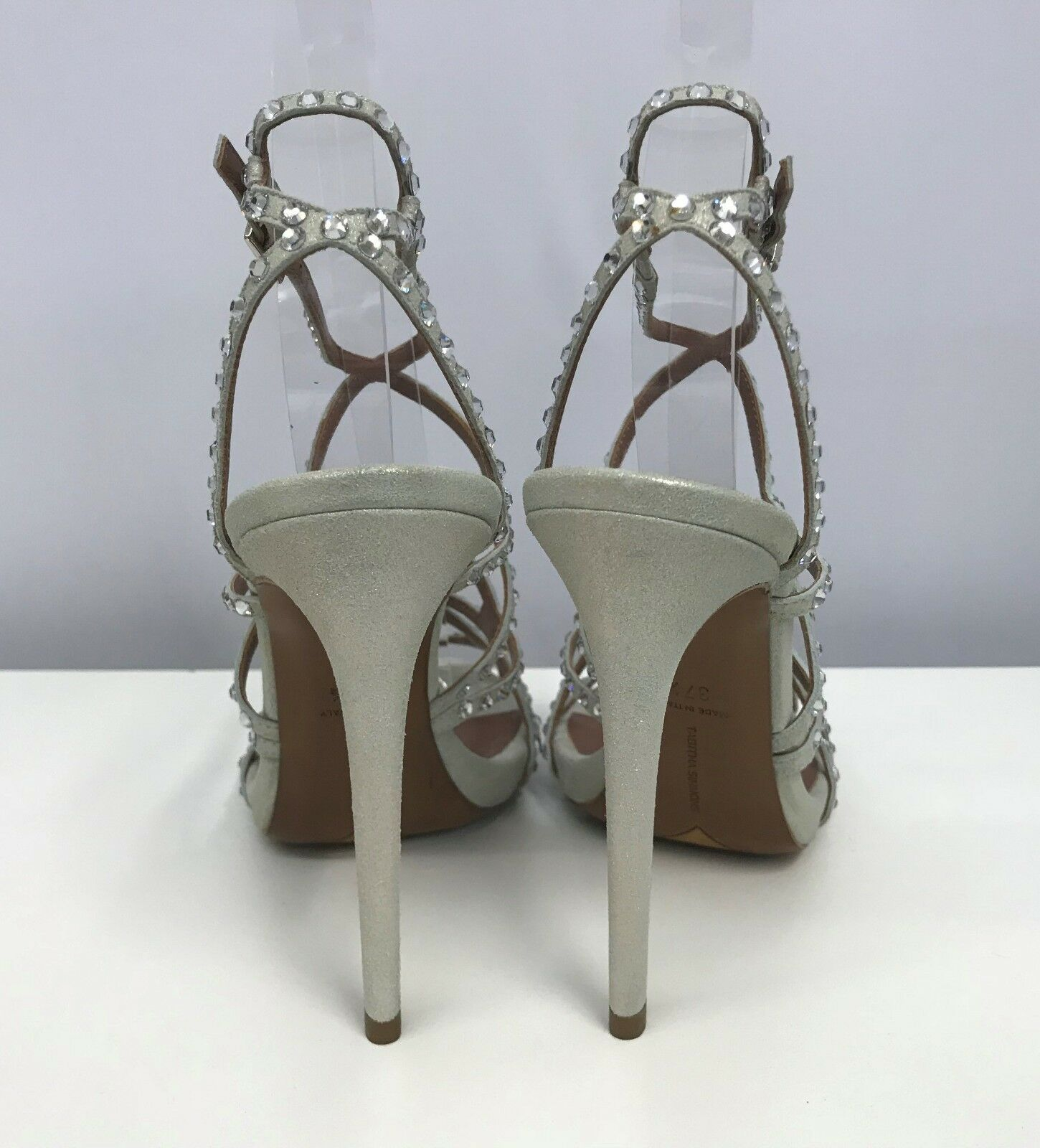 TABITHA SIMMONS STRAPS Schuhe CRYSTALS W/ OPENS STRAPPY STRAPS SIMMONS SILVER CHAMPAGNE 37 1/2 7 6590b8