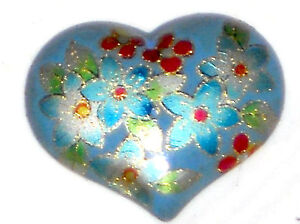 #1015C Vintage Heart Cabochon Blue Floral Cabs Flowers Red Oriental Asian Large