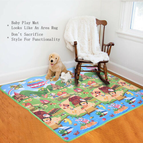 Waterproof Floor Play Mat Rug Infant Kids Crawling Game  Non-slip Mat Two Sides