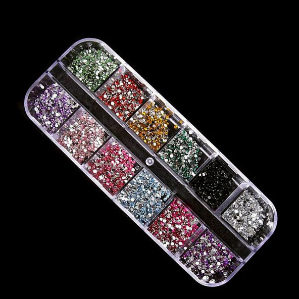 3000 Nail 2.0 Mix Color Crystal Nail Art Rhinestones Glitters Gems Tips Kit
