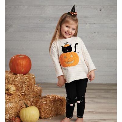 Mud Pie Girl Halloween Pumpkin Cat Tunic And Legging
