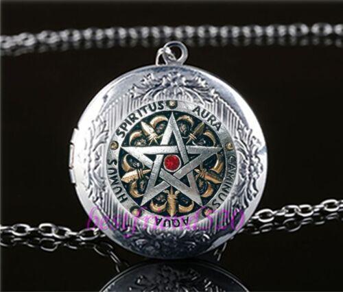 Metal Pentagram Photo Cabochon Glass Tibet Silver Locket Pendant Necklace