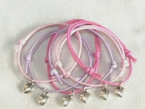 6 HEART FRIENDSHIP CHARM BRACELETS BIRTHDAY PARTY BAG GIFT FAVOUR PRIZES TOMBOLA