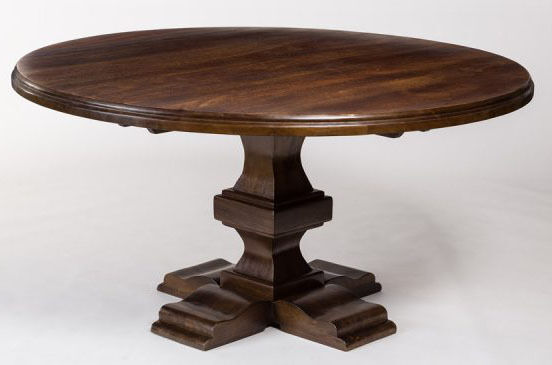84 Inch Large Round Solid Hardwood Dining Table With Rich Chestnut Finish