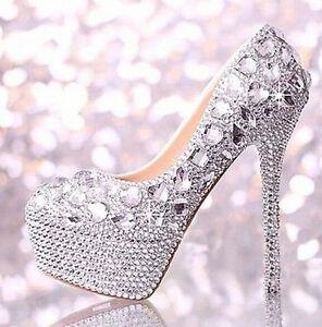 New Lady High Heels Crystal Glitter Diamond Rhinestone Wedding Party ... 2944bb5659a3