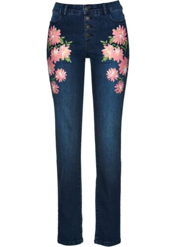 Jeans Print Gr 38 darkblue used Stretchjeans Blumen Druck Knöpfe Neu