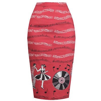 Flight Tracker Dancing Days Red Rock N Roll 1950s Rockabilly Vintage Retro Fitted Pencil Skirt