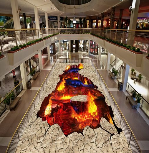 3D Volcan 94 Fond d'écran étage Peint en Autocollant Murale Plafond Chambre Art
