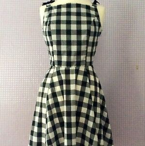 Noir-amp-Blanc-Vichy-Carreaux-Style-Vintage-Audrey-Hepburn-Robe