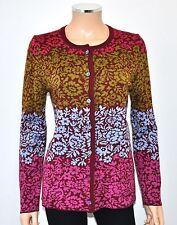 NEW OLEANA MultiColor Floral Pattern Merino Wool & Silk Luxury Cardigan - Sz M