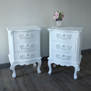 Image Is Loading White Ornate Vintage Style Bedside Table Bedroom Chest