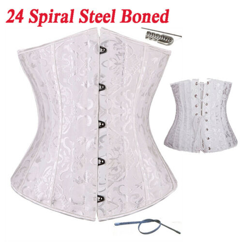 Underbust Corset Steel Boned Jacquard Satin Waist Training Burlesques Bustier NY