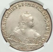 1749 SPB RUSSIA ROUBLE ELIZABETH NGC AU DETAILS.