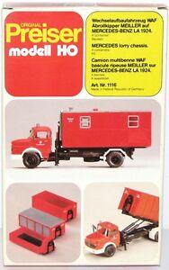 Preiser-H0-1116-Wechselaufbaufahrzeug-Bennes-a-Bascule-Meiller-MB-la-1924-Neuf